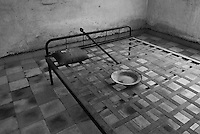 Interior of a VIP cell in Building A at Tuol Sleng Genocide Museum, Phnom Penh, Cambodia