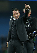 Brendan Rogers manager of Celtic signals to the travelling fans during the Champions League Group C match at the Etihad Stadium, Manchester. Picture date: December 6th, 2016. Pic Simon Bellis/Sportimage