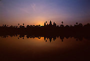 The largest religious compound in the world, Ankor Wat was built by Suryavarman II bestween 1113 and 1150.  It is surrounded on three sides by a moat 580 feet wide and about four miles long.