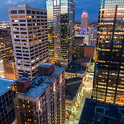 Kansas City, Missouri downtown highrises aerial view from 12th and Central Streets