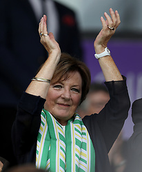 Norwich City's Majority share Holder Delia Smith, attends a pre season friendly between Norwich City and Brighton at Carrow Road, Norwich.