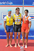 Banyoles, SPAIN,  GBR W1X,  left,  Silver medlist SWE W1X, SVENSSON Frida, centre Gold Medalist GBR W1X, Kath GRAINGER and right, DOMINGUEZ ASENSIO Nuria , women's single sculls, medlas. at the FISA World Cup Rd 1. Lake Banyoles.  Sunday, 31/05/2009[Mandatory Credit. Peter Spurrier/Intersport Images]