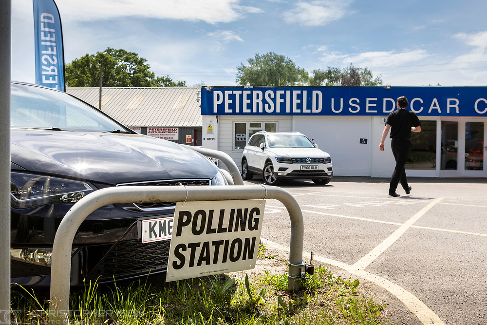 General views of a Polling Station at a used car dealer in Petersfield, Hampshire as the country goes to the polls in the European Elections while the Brexit debate rages on.<br /> Picture date Thursday 23rd May, 2019.<br /> Picture by Christopher Ison. Contact +447544 044177 chris@christopherison.com