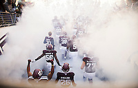Members of the Texas A&M football team enter Kyle Field before the start of an NCAA college football game against UTSA Saturday, Nov. 19, 2016, in College Station, Texas. (AP Photo/Sam Craft)
