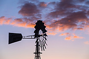 Outdoor Metal Windmill at Sunset