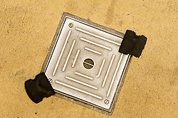 Drain cover sealed with a police tag prior to the Liberal Democratics spring conference in Sheffield