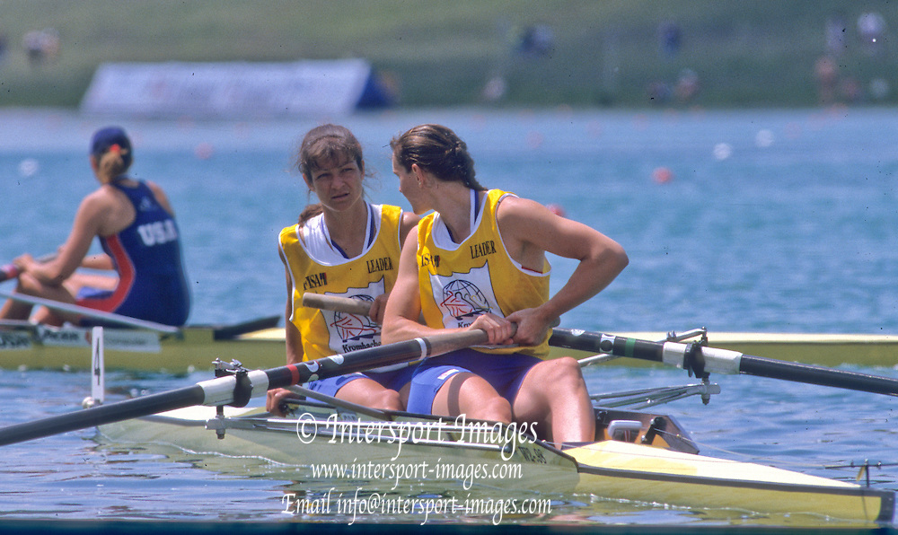 Munich, GERMANY    GBR W2-, Bow Dot BLACKIE and Cath BISHOP, 1998 FISA World Cup, Munich Olympic Rowing Course, 29-31 May 1998.  [Mandatory Credit, Peter Spurrier/Intersport-images] 1998 FISA World Cup, Munich, GERMANY