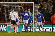 Penalty save by Sheffield Wednesday goalkeeper Cameron Dawson (25)  from Sheffield United forward David McGoldrick (17)  during the EFL Sky Bet Championship match between Sheffield United and Sheffield Wednesday at Bramall Lane, Sheffield, England on 9 November 2018.