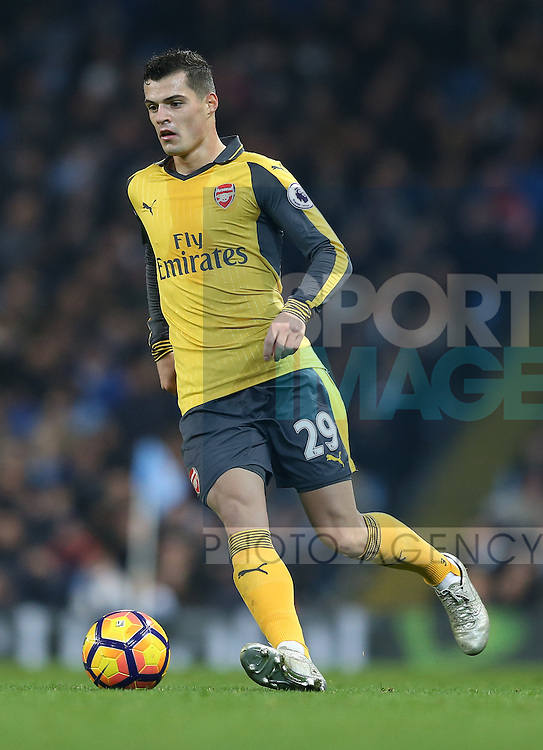 Granit Xhaka of Arsenal during the English Premier League match at the Etihad Stadium, Manchester. Picture date: December 18th, 2016. Picture credit should read: Simon Bellis/Sportimage