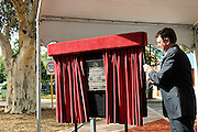 The Governor of Western Australia, His Excellency Malcolm McCusker AC CVO, unveiling a plaque to commemorate the rededication of the Stirling Memorial Gates. Guildford, Perth, Western Australia