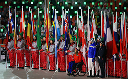 Flagbearers during the Closing Ceremony for the PyeongChang 2018 Winter Paralympics in South Korea.