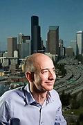 Jeff Bezos - CEO of Amazon.com, shot for BusinessWeek Magazine Portrait of Jeff Bezos, CEO of Amazon.com. Photographed at Amazon.com offices in Seattle, WA. Blue sky background.