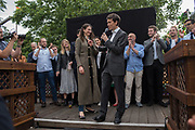 Shoshana Clark, RORY STEWART, Rory For Leader party at end of campaign. Underbelly Festival Garden<br /> London SE1 8XX. 20 June 2019