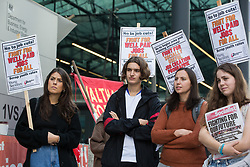 Young Socialists assemble outside the Department for Business, Energy and Industrial Strategy (BEIS) for a London March for Jobs to Downing Street on 9th October 2021 in London, United Kingdom. The march was organised by London Young Socialists and Youth Fight for Jobs, a youth organisation formed in 2009 in response to a rise in youth employment following the 2007-2008 financial crash, to call for decent jobs for young people, a £15ph minimum wage and an end to zero-hour contracts.