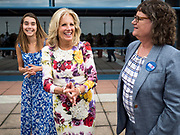 28 JUNE 2019 - DES MOINES, IOWA: Dr. JILL BIDEN, center, accompanied by her granddaughter, NATALIE BIDEN, left, and Polk County (IA) Treasurer MARY MALONEY, right, greets voters at the State Historical Museum of Iowa. Dr. Biden was in Des Moines Friday to campaign for her husband, former Vice President Joe Biden. Vice President Biden, who was Vice President for 8 years during the Obama administration, is one of the Democratic front runners for the Presidency. Iowa traditionally hosts the the first selection event of the presidential election cycle. The Iowa Caucuses will be on Feb. 3, 2020.             PHOTO BY JACK KURTZ