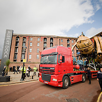 Minutes before a thunderstorm arrives in the city La Princess arrives at Albert Dock. It took close to an hour to travel less than 10 minutes down the road.  Traffic was redirected so the truck would be uniterrupted as it travelled across the city.