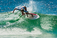 Sally Fitzgibbons, Australian female pro surfer competing in the finals of the Australian Open of Surfing, Manly Beach, Sydney, New South Wales, Australia