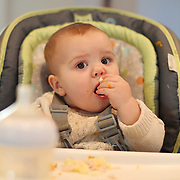 A nine month old baby girl at meal time.  Photo Tim Clayton