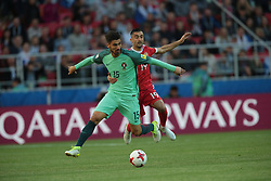June 21, 2017 - Moscow, Russia - André Gomes (L) of the Portugal national football team and Alexander Samedov of the Russian national football team vie for the ball during the 2017 FIFA Confederations Cup match, first stage - Group A between Russia and Portugal at Spartak Stadium on June 21, 2017 in Moscow, Russia. (Credit Image: © Igor Russak/NurPhoto via ZUMA Press)
