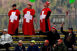Fans of Switzerland during Flying Hill Individual at 2nd day of FIS Ski Jumping World Cup Finals Planica 2011, on March 18, 2011, Planica, Slovenia. (Photo by Vid Ponikvar / Sportida)
