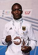 Boxen: AIBA Box-WM, Finale, Hamburg, 02.09.2017<br /> 69 Kg: Abass Barou (GER) mit der Bronzemedaille<br /> © Torsten Helmke
