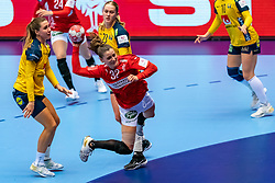 Mie Enggrob Hojlund of Denmark, Anna Lagerquist of Sweden , Emma Lindqvist of Sweden in action during the Women's EHF Euro 2020 match between Denmark and Sweden at Jyske Bank BOXEN on december 11, 2020 in Kolding, Denmark (Photo by RHF Agency/Ronald Hoogendoorn)