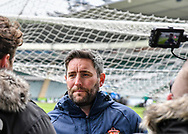 Sunderland Manager Lee Johnson is being interviewed  after the EFL Sky Bet League 1 match between Plymouth Argyle and Sunderland at Home Park, Plymouth, England on 1 May 2021.