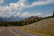 View in the Shoshone area from the Beartooth Scenic Byway towards Pilot Peak 11,708. This incredible stretch of highway, which is closed for much of the year due to winter weather is mountainous and dramatic. Scene here looks through the edge of Wyoming, with Montana and Yellowstone National Park just beyound the summit.