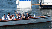 """Henley on Thames, United Kingdom, 8th July 2018, Sunday, Supporters of Marlow and Bann RCs' crew, Long and Scott, celebrate winning """" the """"Hambleden Challenge Trophy"""", """"Fifth day"""", of the annual,  """"Henley Royal Regatta"""", Henley Reach, River Thames, Thames Valley, England, © Peter SPURRIER,"""