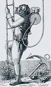 'Diver equipped with Denayrouse's reservoir/regulator helmet and diving suit.  With this suit the diver needed less clumsy equipment. Suitable for dives of up to 6 hours. Engraving, Pa;ris, c1870.'