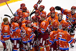 Players of Acroni Jesenice  celebrate after winning the  ice-hockey match between HK Acroni Jesenice and EV Vienna Capitals of 44th Round of EBEL league, on January 30, 2011 in Arena Podmezkla, Jesenice, Slovenia. Acroni Jesenice defeated Vienna 4-3. (Photo By Vid Ponikvar / Sportida.com)