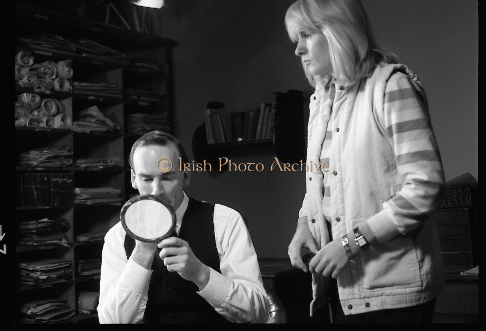 Patrick Pearse a film by Louis Marcus.    (N6)..1979..13.12.1979..12.13.1979..13th December 1979..A film on the Irish Patriot,Patrick was made by the Director, Louis Marcus.The film was to mark the centenary of Patrick Pearse's birth. The lead role was taken by renowned actor John Kavanagh.Others involved in the production were, Andy O'Mahoney, Niall Tobín,Denis Brennan and Derek Lord..Image shows John Kavanagh having a final make up  check before filming begins.