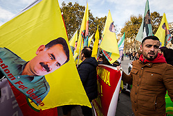 November 3, 2018 - Paris, Ile-de-France (region, France - Place de la Republique in Paris, dozens of demonstrators have denounced the policy of Turkey Erdogan, which is conducting an air campaign in Syria against Kurdish militias of the YPG, considered as terrorists by Ankara. (Credit Image: © Sadak Souici/Le Pictorium Agency via ZUMA Press)