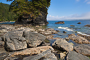 Rocky shoreline and sea stack near Thrasher Cove, West Coast Trail, British Columbia, Canada.