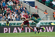 """Twickenham, Surrey United Kingdom. Wales, Luke MORGAN attempting to evade, South Africa's, Cecil AFRIKA tacke during the Pool A game, Wales vs South Africa, at the  """"2017 HSBC London Rugby Sevens"""",  Saturday 20/05/2017 RFU. Twickenham Stadium, England    <br /> <br /> [Mandatory Credit Peter SPURRIER/Intersport Images]"""