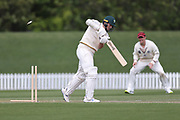 Ray Toole of CD bowled by Fraser Sheat of Canterbury. Canterbury vs. Central Districts Day 2, 1st round of the 2021-2022 Plunket Shield cricket competition at Hagley Oval, Christchurch, on Sunday 24th October 2021.<br /> © Copyright Photo: Martin Hunter/ www.photosport.nz