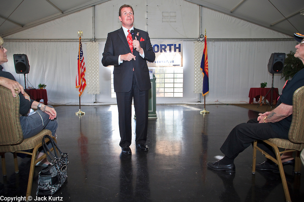 Feb. 17, 2010 -- GOLD CANYON, AZ: JD HAYWORTH speaks at a campaign rally in Gold Canyon, AZ. Hayworth, a former television sports anchor and an ultra conservative former Representative who lost his congressional seat to a moderate Democrat in 2006, is running in the Republican primary against long serving Republican Senator John McCain. Hayworth is popular with the Tea Party activists of the Phoenix suburbs.  Photo By Jack Kurtz