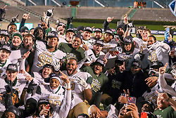 Dec 18, 2020; Huntington, West Virginia, USA; UAB Blazers players celebrate after defeating the Marshall Thundering Herd for the Conference USA Championship at Joan C. Edwards Stadium. Mandatory Credit: Ben Queen-USA TODAY Sports