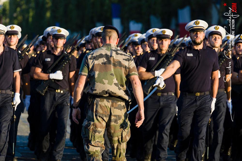 Préparatifs et répétitions matinales sur les champs Elysées des unités qui participeront au défilé à pied du 14 juillet 2018 sur le thème de la « Fraternité d'armes ».<br /> Juillet 2018 / Paris (75) / FRANCE