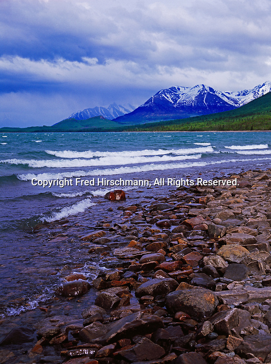 Stormy day along the shore of Lake Clark with Copper Mountain beyond, Lake Clark National Park and Preserve, Alaska.