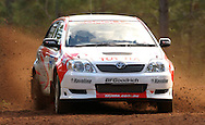 Neal Bates & Coral Taylor.Toyota Corolla Group NP.2003 Falken Rally of Queensland.Imbul State Forest, QLD.13th-15th of June 2003 .(C) Joel Strickland Photographics