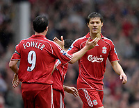 Photo: Jed Wee/Sportsbeat Images.<br /> Liverpool v Charlton Athletic. The Barclays Premiership. 13/05/2007.<br /> <br /> Liverpool's Robbie Fowler (L) congratulates goalscorer Xabi Alonso.