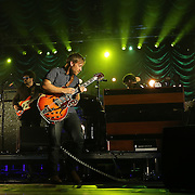 """Patrick Carney (drums) and Dan Auerbach of the band The Black Keys perform during their """"Turn Blue Tour 2014"""" at the Amway Arena on Wednesday, December 17, 2014 in Orlando, Florida. (AP Photo/ Alex Menendez)"""