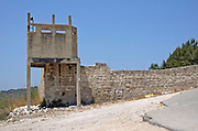 The old wall and guard tower surrounding the original settlement Bat Shlomo, founded in 1889, to protect the Jewish settlers from Arab raids