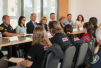 Governor Maggie Hasson answers questions from the audience at the Huot Center during Monday afternoon's drug policy roundtable discussion.  Sitting on the panel (l-r) Laconia Police Chief Chris Adams, Traci Fowler from the Governor's Commission on Alcohol and Drug Abuse, Prevention, Intervention and Treatment, State Senator Andrew Hosmer, Governor Maggie Hassan, Carl Ess parent and manager, Maggie Pritchard Genesis Behavioral Health, Dr. Paul Racicot LRGH and Lori Seog Merrimack County Department of Corrections.  Not pictured Elizabeth Dragon City Manager Franklin / head of Mayor's Drug Task Force and Claire Persson Stand Up Laconia).   (Karen Bobotas/for the Laconia Daily Sun)