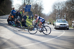 Carmen Small (Cervélo-Bigla Cycling Team) leads the race in the first, short lap of the Trofeo Alfredo Binda - a 123.3km road race from Gavirate to Cittiglio on March 20, 2016 in Varese, Italy.