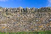 Traditional dry stone wall in Widford, Oxfordshire,  UK