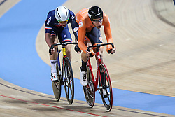 March 1, 2019 - Pruszkow, Poland - Jan Wilem  Van Schip (NED),Florian Maitre (FRA) compete during the Men's Points Race at the UCI Track Cycling World Championships in Pruszkow on March 1, 2019. (Credit Image: © Foto Olimpik/NurPhoto via ZUMA Press)