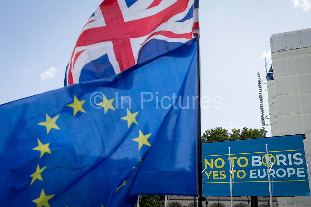 Days before the new leader of the Conservative Party and next Prime Minister of the UK is elected by its members and expected to be Boris Johnson, the last weekend of Theresa Mays unsuccessful Brexit from the European Union saw a March for Change, No To Boris, Yes To Europe protest with pro-EU Remainers marching through the capital demanding an end to Brexit and a No to a Johnson PM, on 20th July 2019, in London, England.