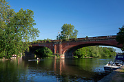 Maidenhead, Berkshire, UK., 29th May 2020, Maidenhead RC, COVID 19, Training, Only private-owned Single Sculls,  General View, scullers and the Maidenhead Railway Bridge (also known as Maidenhead Viaduct, The Sounding Arch), Crosses the River Thames, designed by the Great Western Railway Company's engineer, the noted mechanical and civil engineer, Isambard<br />  Kingdom Brunel, Constructed in the late 1830s<br /> <br /> All athletes, Juniors,  Masters, have to observe Social Distancing,<br /> [© Peter Spurrier/Intersport Images],